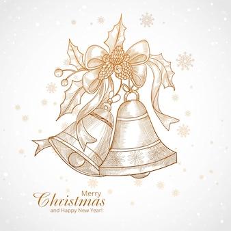 Hermosas campanas de navidad adornan elementos de diseño de boceto
