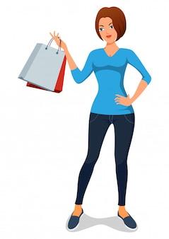 Hermosas chicas de dibujos animados de compras