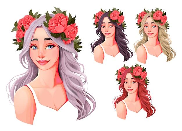 Hermosas chicas con flores en la cabeza.