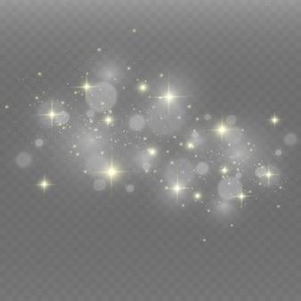 Hermosas chispas brillan con luz especial. brilla en un fondo transparente.