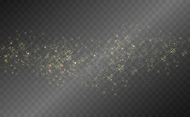 Hermosas chispas brillan con una luz especial. brilla sobre un fondo transparente.