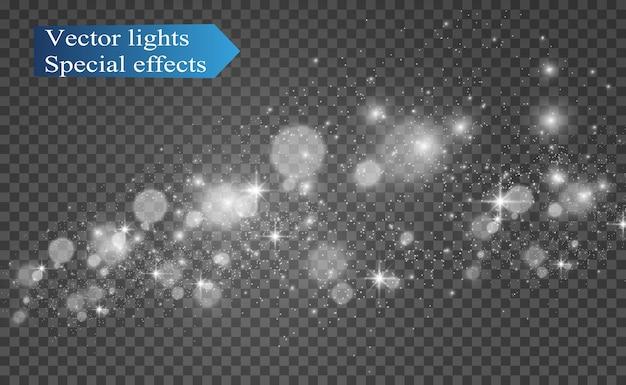 Hermosas chispas brillan con una luz especial. destellos. patrón abstracto.