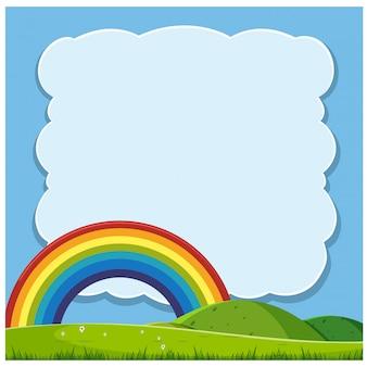 Hermosas colinas y plantilla de arco iris