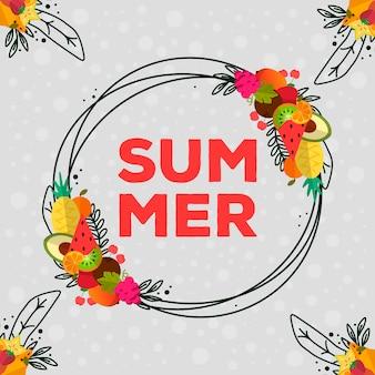 Hermosas y coloridas frutas y elementos de verano.