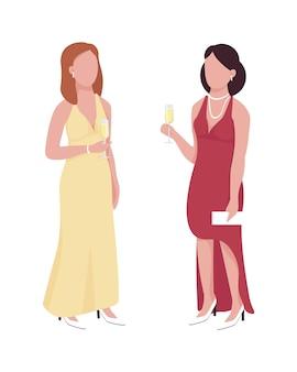 Hermosas damas que asisten a eventos formales personajes vectoriales de color semi plano