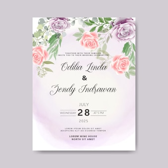 Hermosas y elegantes tarjetas de invitación de boda floral