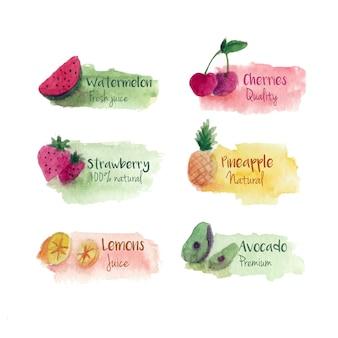 Hermosas etiquetas de acuarela de frutas