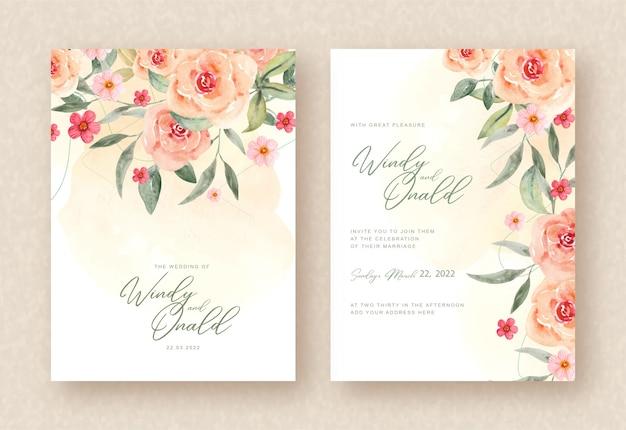Hermosas flores de acuarela en plantilla de invitación de boda