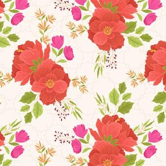Hermosas flores de amapola roja patrón de floración