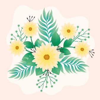 Hermosas flores amarillas y hojas de diseño de icono decorativo verde