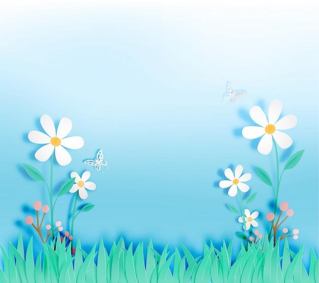 Hermosas flores con campo de hierba en la ilustración de vector de estilo de arte de papel