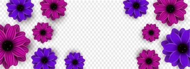 Hermosas flores decoradas sobre fondo transparente