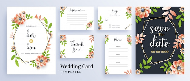 Hermosas flores decoradas tarjeta de invitación de boda