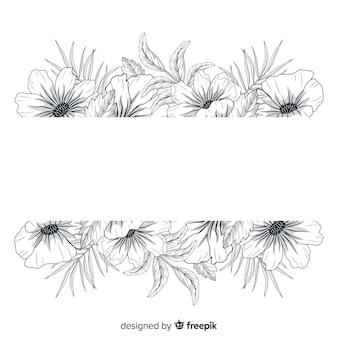 Hermosas flores dibujadas a mano con banner en blanco