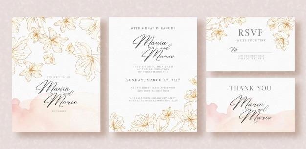 Hermosas flores doradas line art en plantilla de tarjeta de boda