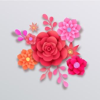 Hermosas flores de estilo papel