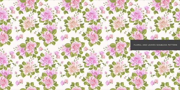 Hermosas flores y hojas de patrones sin fisuras
