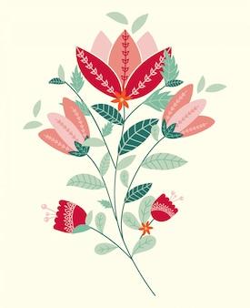 Hermosas flores en la ilustración de estilo popular
