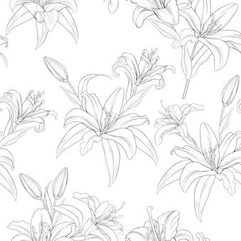Hermosas flores de lirio de patrones sin fisuras dibujadas a mano