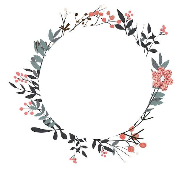 Hermosas flores y ramitas en una composición redonda.