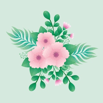 Hermosas flores rosas y hojas de diseño de iconos decorativos verdes
