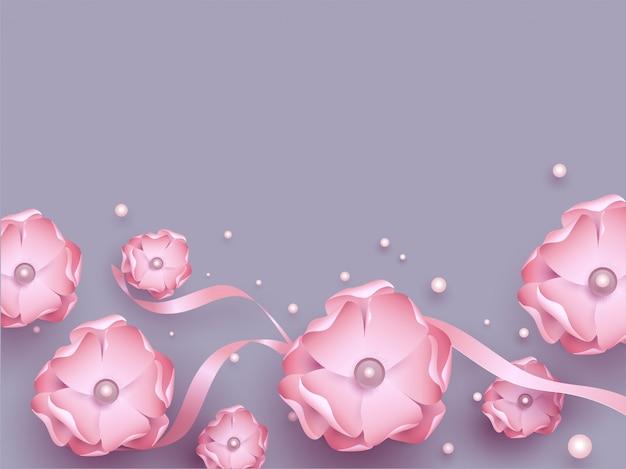 Hermosas flores rosas con lazo y perlas decoradas en purpl.