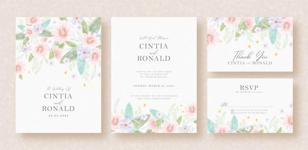 Hermosas flores en tarjeta de invitación