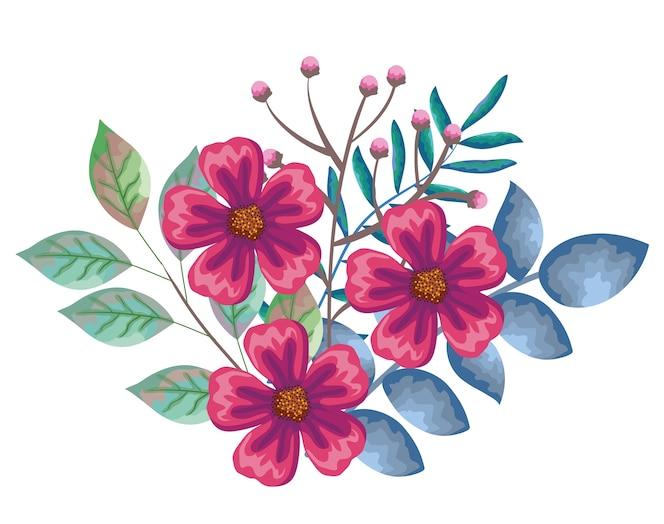 Hermosas flores y decoración de hojas