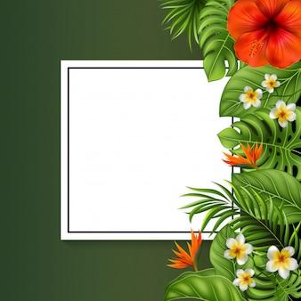 Hermosas flores y hojas con signo en blanco