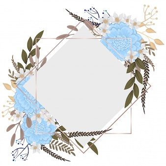 Hermosas fronteras florales flores de color azul claro