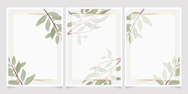 Hermosas hojas de eucalipto con semillas mínimas con marco dorado