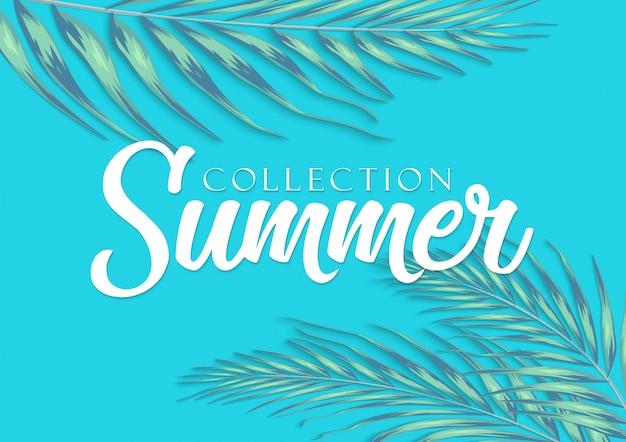 Hermosas hojas tropicales con letras sobre fondo borroso. ilustración del concepto de verano