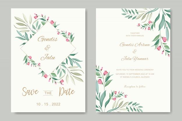 Hermosas hojas vector plantilla de tarjeta de boda