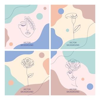 Hermosas ilustraciones con líneas finas y formas abstractas, concepto cosmético de belleza