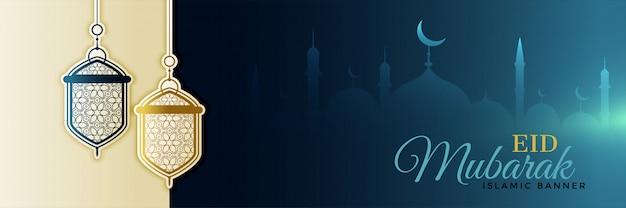 Hermosas lámparas festival eid colgando diseño de banner