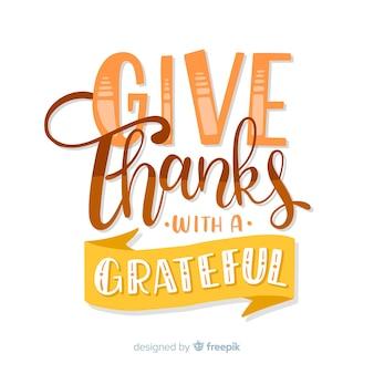 Hermosas letras felices de acción de gracias