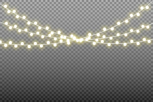 Hermosas luces de guirnalda aisladas. luces brillantes