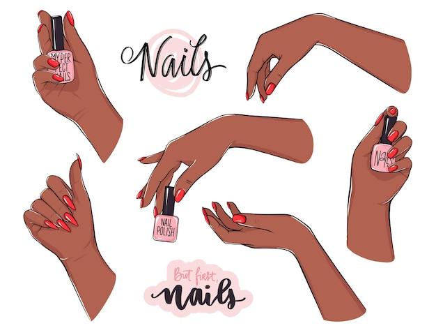 Hermosas manos femeninas con piel oscura sostiene la botella de esmalte de uñas. ilustraciones de manicura
