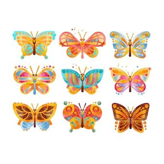 Hermosas mariposas coloridas set ilustraciones