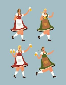 Hermosas mujeres alemanas bebiendo cervezas personajes, diseño de ilustraciones vectoriales