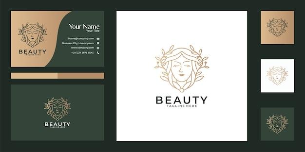 Hermosas mujeres naturaleza línea arte diseño de logotipo y tarjeta de visita. buen uso para el logotipo de salón de belleza, spa, yoga y moda.
