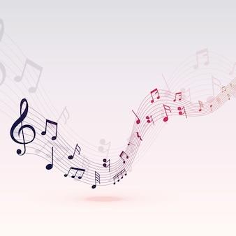 Hermosas notas musicales diseño de fondo de onda