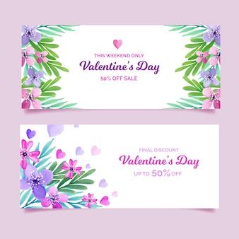 Hermosas pancartas de venta de san valentín