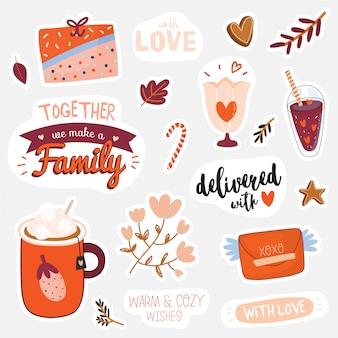 Hermosas pegatinas de amor con elementos del día de san valentín y letras encantadoras.