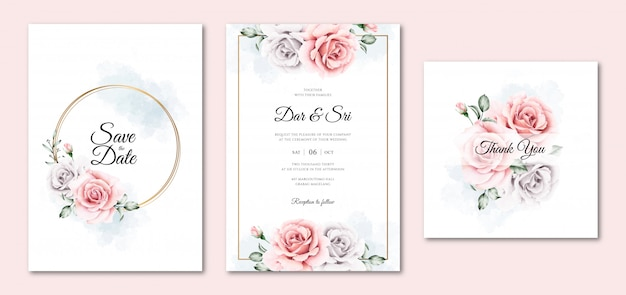 Hermosas plantillas de invitación de boda floral acuarela