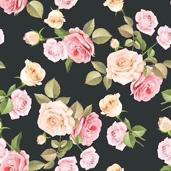Hermosas rosas blancas y rosadas de patrones sin fisuras