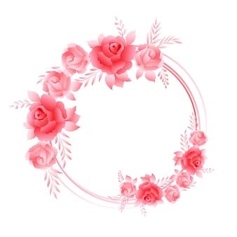 Hermosas rosas rosadas, composición de marco de corona