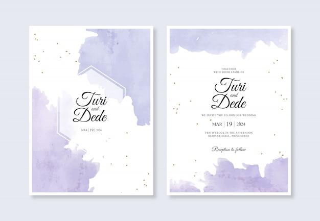 Hermosas salpicaduras de acuarela para plantillas de tarjetas de invitación de boda