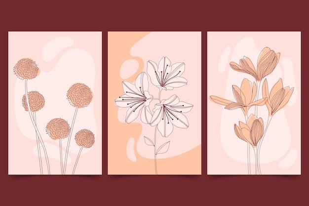 Hermosas tarjetas florales planas