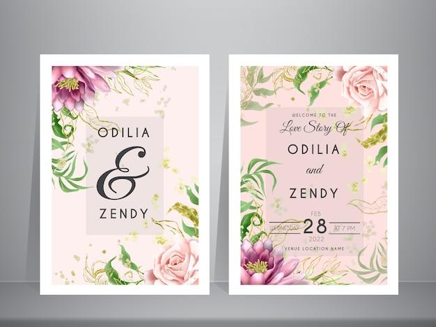 Hermosas tarjetas de invitación de boda de loto rosa y púrpura